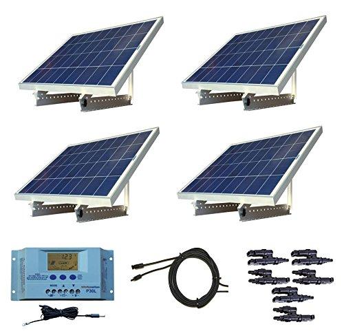 WindyNation 400 Watt 12V or 24V Solar Panel Kit w/ Adjustable Solar Mount Rack and LCD Charge Controller RV, Cabin, Off-Grid Battery