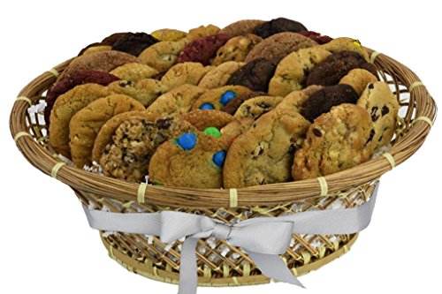 "Cookies From Home ""Sweet Temptations Basket"" - Freshly Hand Baked Gourmet Cookies and Brownies Gift Set -36 Cookies + 2 Brownies 