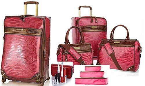 Samantha Brown Classic Croco Jet Set Travel Luggage Set Plus Extras by Samantha Brown
