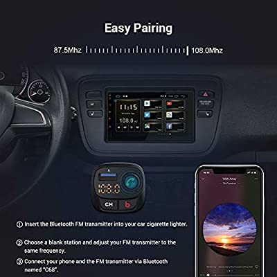 Bluetooth FM Transmitter for Car, ZeaLife Wireless FM Radio Adapter with QC 3.0 & USB-C PD 18W, Car Charger Audio Adapter, Bass Booster MP3 Music Player with Hand-Free Calling,Support U Disk: Car Electronics