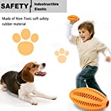 Dog's Chew Toy Dogs Teeth Cleaning Toy [Bite Resistant][Non-Toxic Soft]Jakpak Dog Chew Toys and Teeth Cleaning Balls Teething Rubber Bones for Pet Funny Chew Rugby Football Toy for Dogs Orange