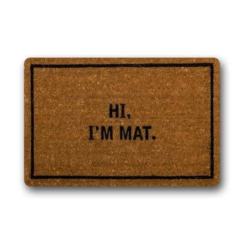 Deffbb Custom Doormat Entrance Floor Mat Hi!I'm Mat Non-slip Doormat 23.6(L) X15.7(W) inch