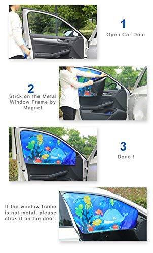 Bloqueador Solar del Coche para Bebe Parasol de Coche para Protege Rayos Ultravioleta del Animales del Mar FancyAuto Parasoles para Ventanas Laterales