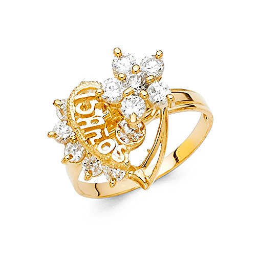 Ioka - 14K Yellow Solid Gold Cubic Zirconia CZ 15 Anos Quinceanera Birthday Motion Ring - size 6 - Yellow Gold Spinning Ring
