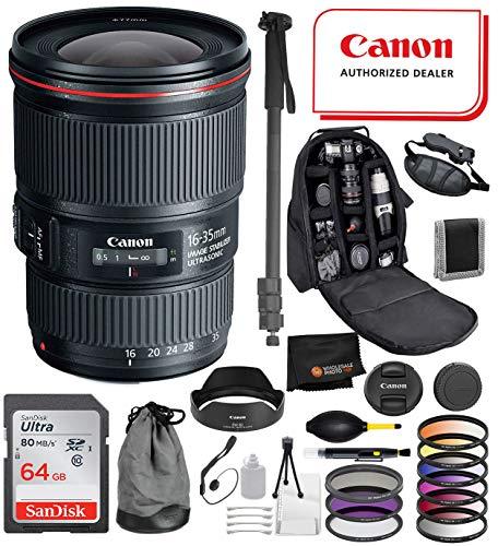Canon EF 16-35mm f/4L is USM Lens with Professional Bundle Package Deal Kit for EOS 7D Mark II, 6D Mark II, 5D Mark IV, 5D S R, 5D S, 5D Mark III, 80D, 70D, 77D, T5, T6, T6s, T7i, SL2