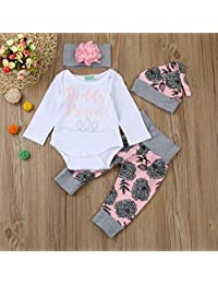 Gotd Newborn Infant Baby Girl 4pc Set Outfits Clothes Letter Romper Tops+Floral Pants Hat (6-12 Months, White)