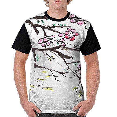 ZhiqianDF Mens Chinese Paint Flower On Paper Cool Sports Black T Shirt XL Short Raglan - Pack Family Sixers