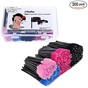 Ohuhu 300 Pcs Mascara Wands Brushes Disposable Eye Lash Eyebrow Eyelash Brushes Applicator with Storage Box