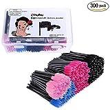 Ohuhu 300 Pcs Mascara Wands Brushes Disposable Eye Lash Eyebrow Eyelash Brushes Applicator with Storage Box for Women Girls Gifts