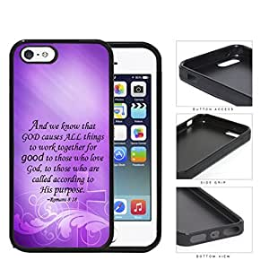 Romans 8:28 Bible Verse on Purple Background with Cross Overlay [iPhone 5 5s] Rubber Silicone TPU Cell Phone Case