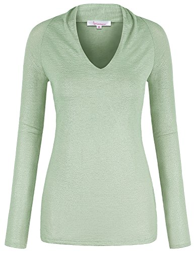 Misswor Designer Blouses for Women, Ladies Tunic Tee Elegant V Neck Long Sleeve Tight Shirt Slim Fit Metallic Knit Top Autumn Wear Light Green XL - Metallic Knit Top