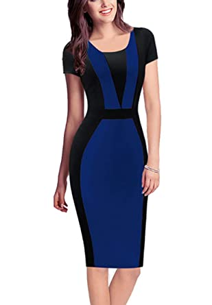 944d3cbac7f66 REPHYLLIS Women Summer Round Neck Business Working Cocktail Party Bodycon  Dress at Amazon Women's Clothing store: