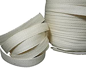 """Twill Tape 1/2"""" to 1"""" Size 100% Cotton Black and Natural Color 100 & 50 Yard Roll (1"""" - 50 Yard, Natural)"""