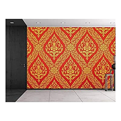 Traditional Thai Painting in red and Gold - Ornate Temple Decoration - Wall Mural, Removable Sticker, Home Decor - 66x96 inches