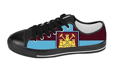 867c39f04adc West ham United Custom Lace-up Canvas Women s Shoes Black Size US10 ...