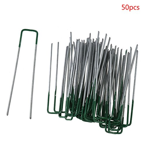 Micro Trader 50x Garden Staples Half Green U Shape Pegs Staples Artificial Grass Turf Pins Galvanised ()