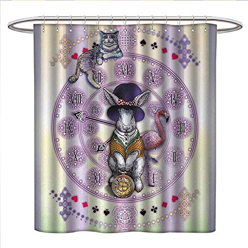 (Animal Shower Curtains Mildew Resistant Alice in Wonderland Rabbit and Cat Fiction Story Novel Child Display Story Satin Fabric Bathroom Washable W69 x L75 Lilac Pale Yellow)