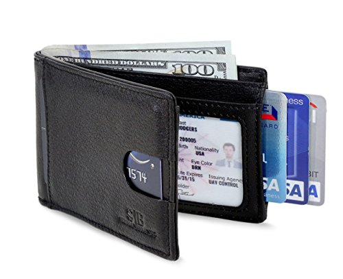 - Travel Wallet RFID Blocking Bifold Slim Genuine Leather Thin Minimalist Front Pocket Wallet men Thin Billfold Slim wallets for men Made From Full Grain Leather (Jet Black 2.0)