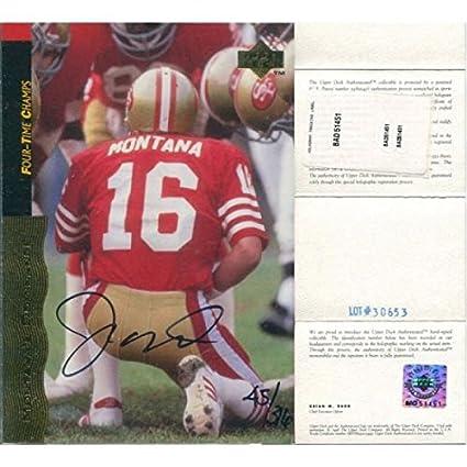 half off 669bf 2a46e Joe Montana Autographed Upper Deck 4xChamps Card (UD ...