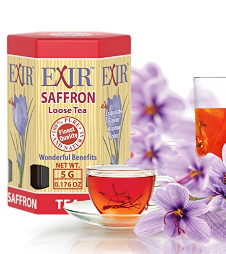 Exir Organic Saffron Tea 5-grams Focus Energy Add Attention Boost Mood Increase Memory Anti Stress Anxiety | Premium Quality Incredible Health Benefits Fresh Crop ()