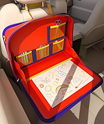 Durable Travel Tray and Backseat Car Organizer for Age 4+. Travel Art Desk. Device Holder for iPad, Tablets. Homework Writing Surface. Car Organizer for Road Trips and Air Travel.