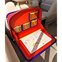 The Original Kids Travel Tray and Backseat Car Organizer. Holds Crayons Markers, iPad, Kindle, Tablet and Device Holder. For Road Trips and Air Travel. Organized Lap Tray Writing Surface (Blue)