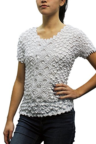 Crinkle Short Sleeve Blouse - Women's Popcorn Blouse - One Size - Stretchy Fitted Fashion Top (White)