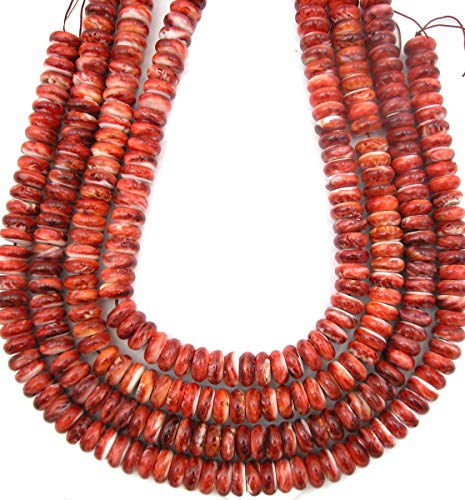(Deep Red Spiney Oyster Big 12mm Wheel Rondell Beads, 8 inch Strand)