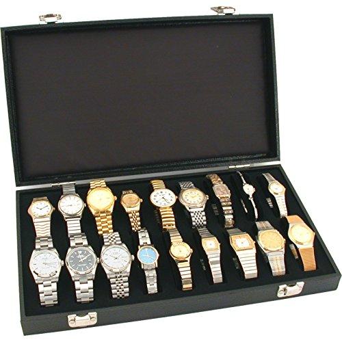 18pc Black Watch Travel Tray Showcase Display Case Unit