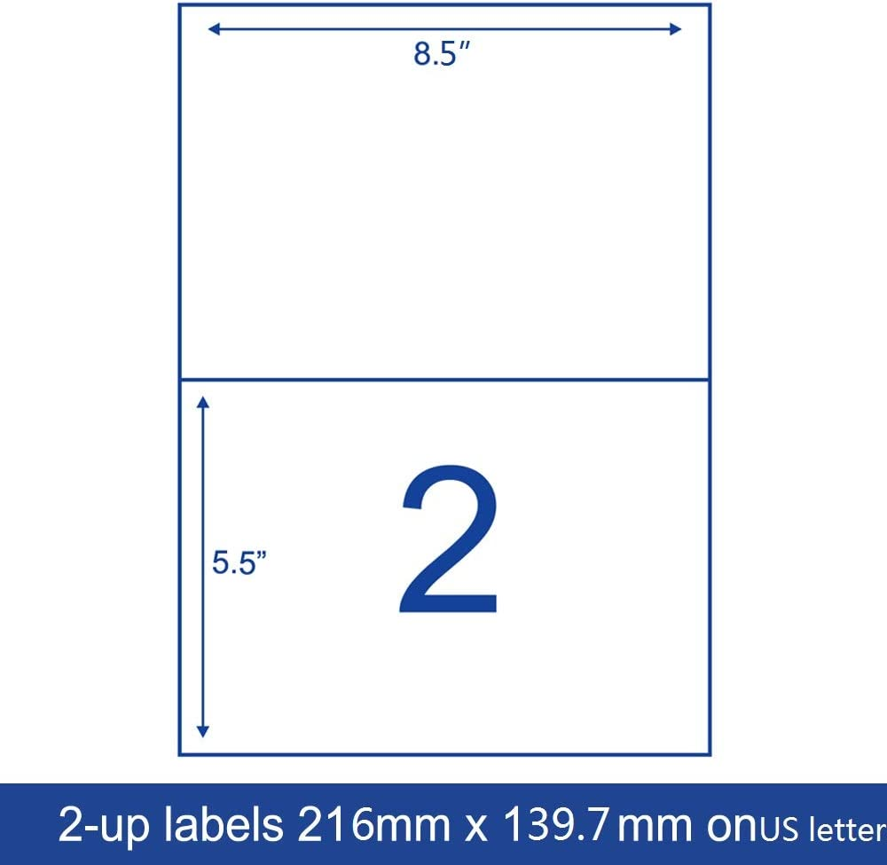 JINGPO Shipping Labels 2-UP FBA SKU Printer Label Stickers 8.3 x 5.85for Laser//Ink Jet Printer 100 Sheets 200 Label Paper