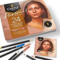 Castle Arts 24 lápices de colores en un estuche de metal, colores Portrait perfectos para dibujar, esbozar, colorear. Con...
