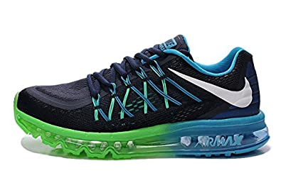 c3fa81a474 Image Unavailable. Image not available for. Colour: Nike Airmax 2016 Black  Green Blue Running Sports Shoes ...