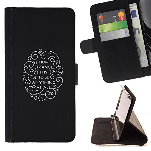 XP-Tech / Flip Wallet Diary PU Leather Case Cover With Card Slot for LG X Mach / X Fast - How Strange It Is To Be Anything At All