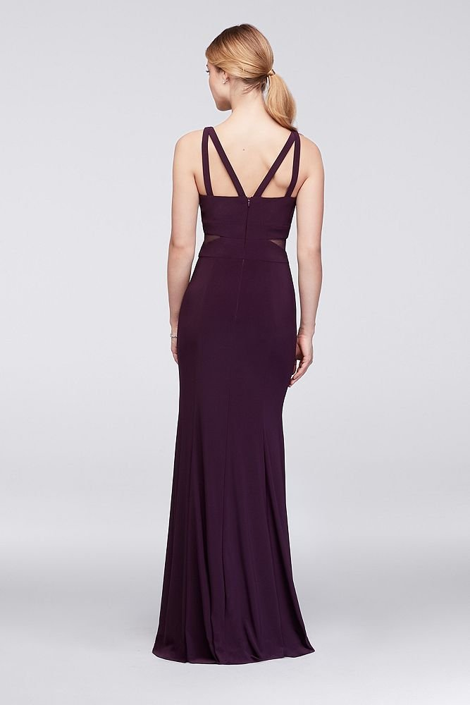 David's Bridal Strappy Matte Jersey Gown with Illusion Cutouts Style XS9314D, Plum, 6 by David's Bridal (Image #2)