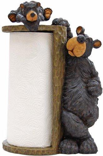 Willie Black Bear Paper Towel Holder Rack for Free Standing