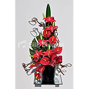 Beautiful Red Stargazer Lily and Anthurium Floral Table Arrangement 1