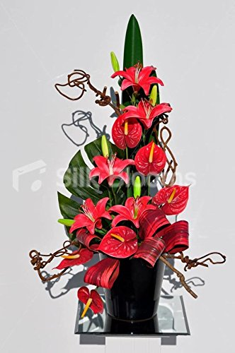Beautiful-Red-Stargazer-Lily-and-Anthurium-Floral-Table-Arrangement