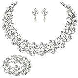 EVER FAITH Austrian Crystal Bridal Cream Simulated Pearl Leaf Jewelry Set Clear Silver-Tone