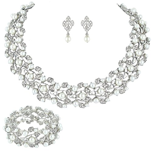 EVER FAITH Austrian Crystal Bridal Cream Simulated Pearl Leaf Jewelry Set Clear Silver-Tone