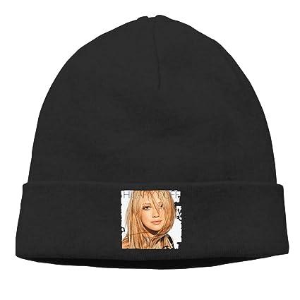 e2721286f32 AlbertV Hilary Duff Cuffed Plain Skull Knit Hat Cap Skull Cap for Men and  Women Black