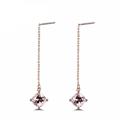 cd26bd0bf Amazon.com: Morganite Threader Drop Earrings Solid 14k Rose Gold Women Dangle  Earring Pink Cushion Cut Long Chain: Jewelry