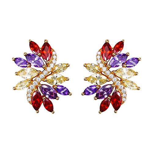 EVER FAITH Women's Marquise CZ Elegant Bridal Floral Leaf Pierced Stud Earrings Multicolor Gold-Tone