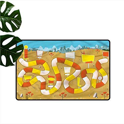HOMEDD Custom Doormat,Board Game Block Path on City Park,for Outdoor and Indoor,31
