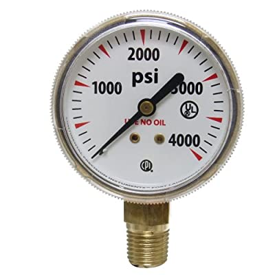 Uniweld G7S Gauge with 0-4000 PSI and 1/4-Inch NPT Bottom Mount Gold Steel Case, 2-Inch
