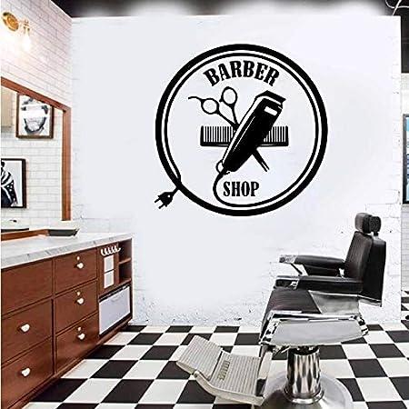 De pared de vinilo moderno novedoso con cortadora de pelo de ventana con logotipo de barbería | Sala de estar Dormitorio Sofá Fondo TV Fondo de pared Regalos creativos