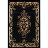 Cheap Orian 0 Orian Texture Weave Rug44; Flame Resistant44; 31 Inch x 45 Inch44; Medallion Black