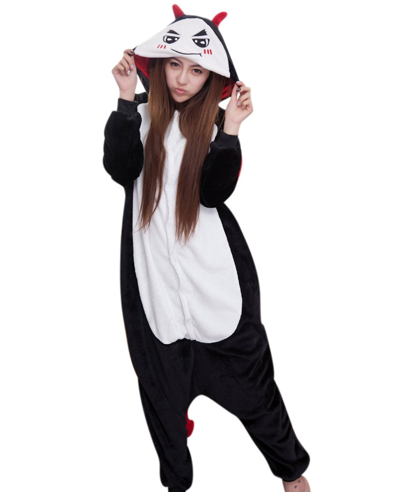 MissFox Unisex Kigurumi Pigiama Adulto Anime Cosplay Halloween Costume Animale Pigiama Costumi di Carnevale Fiocco di neve L