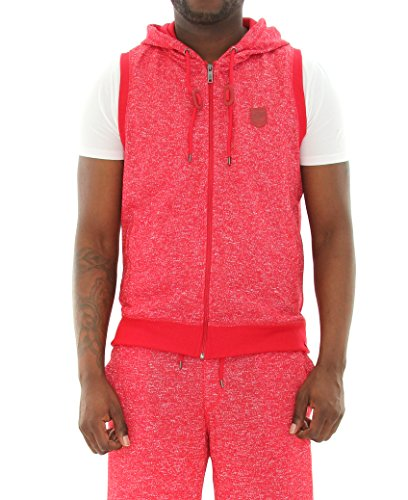 Southpole Men's Hooded Full Zip In Basic Hoodie Sleeveless Vest, Marled Red, Large