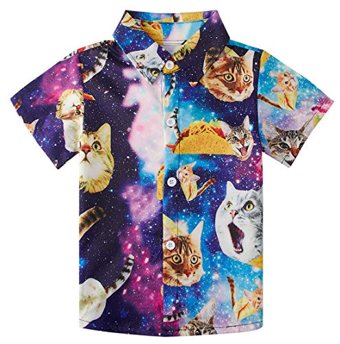 RAISEVERN Little Boy's Button Down Shirts Galaxy Cat Short Sleeve Cartoon Colorful Taco Cats Dress Shirt for Toddler (2-3T) (Best Friend Shirts For Sale)