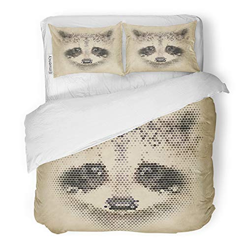 Emvency 3 Piece Duvet Cover Set Brushed Microfiber Fabric Breathable Gray Animal Vintage Geometric Raccoon Design Abstract Wild Life Face Zoo Puzzle Bedding Set with 2 Pillow Covers Full/Queen Size